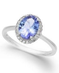 Macy's Tanzanite 1 3 8 Ct. T.W. And Diamond 1 8 Ct. T.W. Oval Ring In 14K White Gold