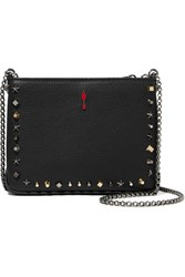 Christian Louboutin Triloubi Small Studded Textured Leather Shoulder Bag Black