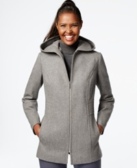 London Fog Petite Hooded Zipper Front Coat Medium Grey