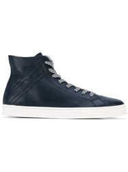 Hogan Rebel Lace Up Hi Top Sneakers Men Leather Rubber 9 Blue