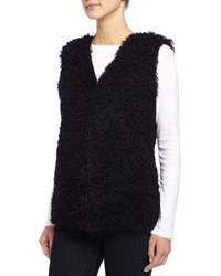 Max Studio Faux Fur Vest W Faux Leather Lining Black