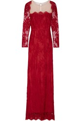 Marchesa Notte Tulle Paneled Lace Gown Claret
