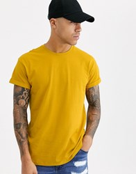 New Look Roll Sleeve T Shirt In Yellow