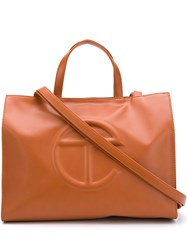 Telfar Embossed Logo Tote Bag Brown