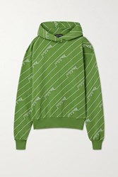 House Of Holland Oversized Embroidered Cotton Jersey Hoodie Leaf Green