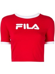 Fila Logo Print Cropped T Shirt Red