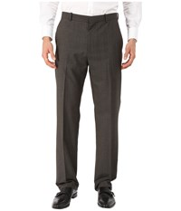 Perry Ellis Tonal Plaid Flat Front Pants Dark Brown Men's Casual Pants