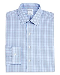 Brooks Brothers Double Check Classic Fit Dress Shirt Blue