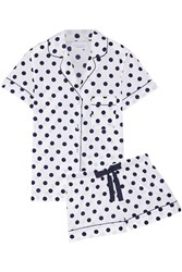 Three J Nyc Eloise Polka Dot Cotton Poplin Pajama Set White