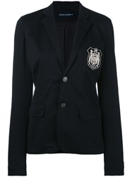 Ralph Lauren Embroidered Emblem Blazer Women Cotton Polyester Spandex Elastane 8 Black