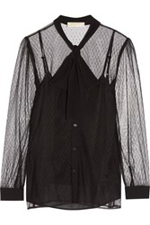 Michael Michael Kors Pussy Bow Crepe Trimmed Tulle Blouse Black