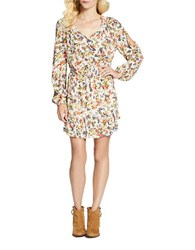 Jessica Simpson Meadow Long Sleeve V Neck Dress French Clusters