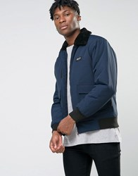 Nicce London Ma1 Bomber Jacket With Faux Fur Collar Navy