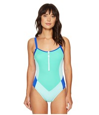 Nautica Shades Of The Sea Zip One Piece Azure Women's Swimsuits One Piece Blue