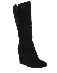 Mia Renee Faux Suede Wedge Boots Black