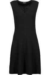 Magaschoni Ribbed Cashmere Mini Dress Black