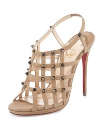 Christian Louboutin Guinievre Caged Suede Red Sole Sandal Noisette Corne Women's Size 38.5B 8.5B