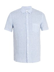 120 Lino Short Sleeved Striped Linen Shirt White Multi