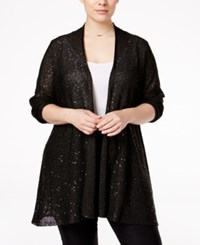 Alfani Plus Size Sequined Open Front Cardigan Only At Macy's Deep Black