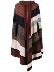 Chloe Knitted Stripe Hooded Poncho Women Acrylic Polyamide Cashmere Wool One Size