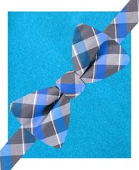Alfani Spectrum Lennox Plaid Bow Tie And Pocket Square Set Only At Macy's Blue