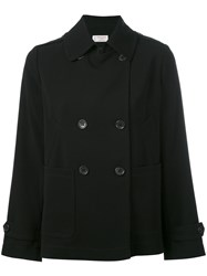 Alberto Biani Double Breasted Peacoat Women Polyester Acetate Triacetate 40 Black
