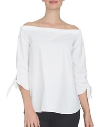 Cynthia Steffe Spring Meadow Off The Shoulder Cotton Shirt Ultra White