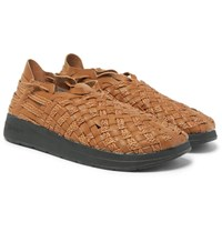 Malibu Missoni Woven Faux Leather Sandals Brown