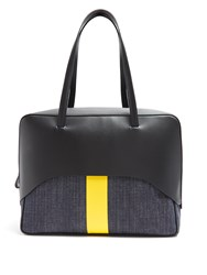 Tibi Papa Leather And Denim Tote Black Yellow