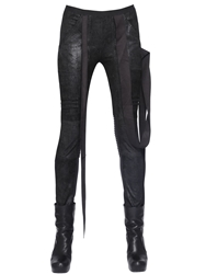 Rick Owens Quilted Stretch Nappa Leather Pants Black