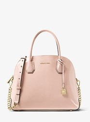 Michael Kors Studio Mercer Large Patent Leather Dome Satchel Pink