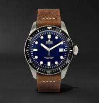 Oris Divers Heritage 65 Stainless Steel And Suede Automatic Watch Black