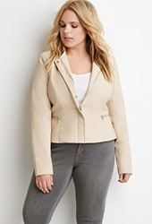 Forever 21 Collarless Faux Leather Jacket Blush