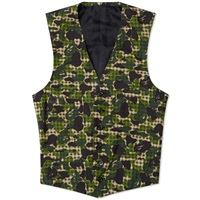 Mr. Bathing Ape Abc Gingham 2 Button American Suit Waistcoat Green