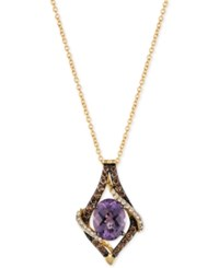 Le Vian Chocolatier Amethyst 1 3 8 Ct. T.W. And Diamond 1 3 Ct. T.W. Pendant Necklace In 14K Gold Yellow Gold