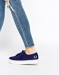 Fred Perry Phoenix Navy Canvas Flatform Trainers Frenchnavy
