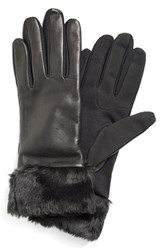Women's Fownes Brothers Leather Tech Gloves With Faux Fur Trim
