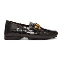 Versace Black Croc Driver Loafers