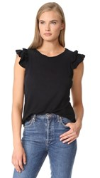 Current Elliott The Double Ruffle Muscle Tank Washed Black