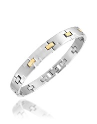 Zoppini Zo Chain Brushed Stainless Steel And 18K Gold Link Bracelet Silver