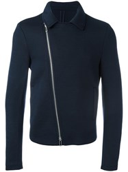 Emporio Armani Zip Up Biker Jacket Blue