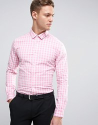 Asos Slim Gingham Check Shirt With Stretch In Pink Pink