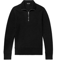 Tom Ford Slim Fit Ribbed Merino Wool And Cashmere Blend Half Zip Sweater Black