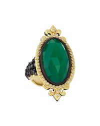 Armenta Oval Cut Ring With Green Onyx And Diamonds