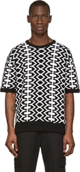 Ktz Black And White Printed Knit Sweater