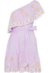 Miguelina Summer One Shoulder Belted Embroidered Cotton Mini Dress Lilac