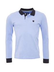 Eden Park Cotton Polo Shirt With Contrast Trims Blue
