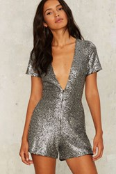 Nightwalker Under The Disco Sequin Romper Silver
