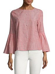 Beach Lunch Lounge Faux Pearl Trimmed Cotton Top Pink