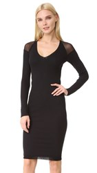 Fuzzi Long Sleeve V Neck Dress Nero